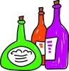 Wine bottles of various sizes and shapes clipart