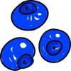 Cartoon illustration of three blueberries clipart