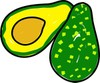 Avocados, a whole avocado and I sliced avocado with the seed or pit visible clipart