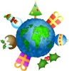 Globe of the earth with Christmas icons surrounding it clipart