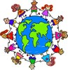 Kids holding hands around the world, children around the gloabe clipart