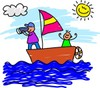 Kids sailing a sailboat on an adventure clipart