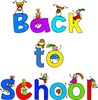 "Kids playing on big ""back to school"" letters clipart"