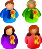 Several people, both men and women, wearing awards or ribbons they have won in competition clipart