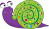 Purple cartoons male with a smile and a brightly decorated shell clipart