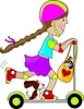 Cartoon of a little girl riding her scooter with her puppy dog clipart