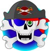 Skull and cross bones with pirate clothing clipart