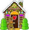 Gingerbread man standing by his gingerbread house in a brightly colored cartoon drawing clipart