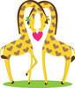 Two cartoon giraffes showing their love for one another clipart