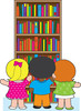 Kids getting books off of a bookcase in the library clipart