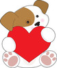 Valentine puppy dog with big red heart clipart