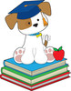 puppy dog graduate sitting on school books in a cartoon drawing about education clipart
