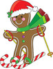 Gingerbread man snow skiing on candy canes clipart