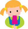 Girl child eating an ice cream bar clipart