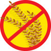 "stalk of wheat with a red crossed out circle over it to signify ""no wheat"" clipart"
