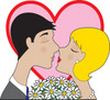 man and woman kissing on a date clipart