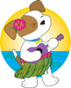 hawaiian puppy dog playing the ukelele on vacation in Hawaii clipart
