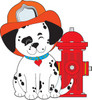 dalmation puppy dog next to fire hydrant wearing a fireman's hat clipart
